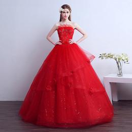 Wholesale Dress Handmade China - 2017 New Fashion White And Red Crystal Handmade Embroidery Wedding Dress Luxury layers China Bridal Gown Vestido De Novia