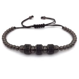 Inlays gold armband online-Mode Luxus Vergoldet 3 Runde Perlen Macrame hochwertige Armband Micro inlay zirkon Mens Womens Neue Stil Zubehör