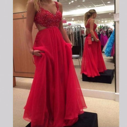 Wholesale Evening Desses Crystal - Sexy Prom Desses Long Appliques Beaded V Neck Backless Red Chiffon Evening Party Prom Party Gowns New 2017 Plus Size vestido de festa