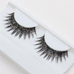 Wholesale Glitter Eyelash - Wholesale- a pair of loaded nightclub makeup exaggerated fashion glitter, fake eyelashes false eyelashes