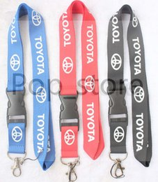 Wholesale Toyota Key Holders - Automobile wind TOYOTA Lanyard Keychain Key Chain ID Badge cell phone holder Neck Strap three colors.