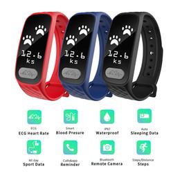 Wholesale Digital Blood Monitors - ECG Heart Rate Monitor Bluetooth Smartwristband Waterproof Smartwatch Pedometer Sport Digital Blood Pressure Smart Bracelet
