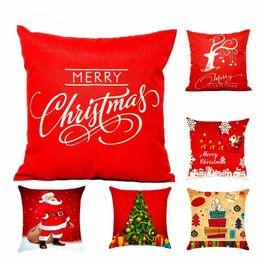 plastik-silberkrone stirnbänder Rabatt Heiße Weihnachtsdekorationen Für Zu Hause 1 stücke Rentier Jute Kissenbezug Fall Frohe Weihnachten Platz Leinen Kerst Noel
