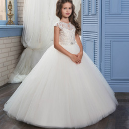 Wholesale Rhinestone Appliques For Pageant Dresses - Elegant Lace First Communion Dresses for Girls Beaded Sash Tulle Puffy Ball Gown Long Pageant Dress for Kids Graduation Gown