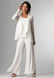 Wholesale Elegant Trouser Suits - Elegant White Chiffon Lady Mother Pants Suits Mother of The Bride Groom mother bride pant suits With Jacket Women Party Dresses trouser suit