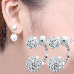 Wholesale Shambala Balls - High quality 925 Sterling Silver Double sided Shambala Ball Stud Earrings Diamond Crystal disco beads Earings fine Jewelry for women girls