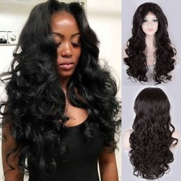 Wholesale Wigs Soft Black - Fashion wavy Lace Front Wigs With Natural Hairline Long Wavy Soft Hair 180density Heat Resistant Synthetic Wigs For Black Women