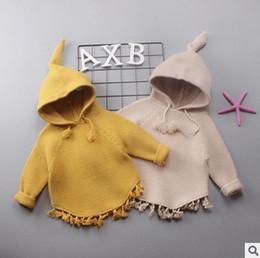 Wholesale Knitted Skull Sweater - Baby little girls sweater coat kids skull sharp hooded knitting pullover children tassel lace long sleeve princess tops outwear R0026