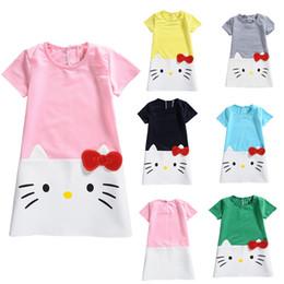 Wholesale Kitty Shorts - 2018 New Girl Cotton 100% Kitty Dress Girls Short Sleeve Slim Skirts Girls Summer Clothing Casual Skirt