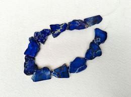 Colar de pingente de azul royal on-line-3 vertentes azul royal sedimento do mar jaspe imperial pingente, laje pepita perfurado contas soltas jóias resultados colar fazendo sz05