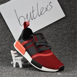 Wholesale R Shoes - 2017 Best Quality NMD Runner Shoes NNM_R1 Monochrome R 1 Mesh Primeknit Triple NMD R1 Women Men Running Shoes Sneakers Sports Shoes With Box