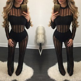Wholesale Womens Sexy See Through Jumpsuits - Wholesale- 2017 new see through mesh Jumpsuits long sleeve o neck zipper rompers womens Jumpsuits black striped sexy bodysuit YC-J1153