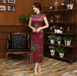 Wholesale Chinese Cheongsam Design - 2017 chinese traditional dress fashion design long cheongsam long sleeves evening dresses gambiered Canton gauze cloth qipao