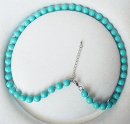 Wholesale Turquoise Shell Pearl Necklace - 8mm round turquoise blue color shell pearl fashion necklace 18''