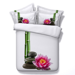 Wholesale King Pink Bedspread - Bamboo Pink Flower 3D Printed Bedding Set Twin Full Queen King Size Bedspreads Duvet Covers Pillow Shams Comforter Lotus Daffodils Sunflower