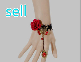 Wholesale Lingerie Bracelet - Sell red rose, Lace Necklace, safflower clavicle, gemstone pendant, hanging neck, clavicle, sexy lingerie accessories, factory direct sales