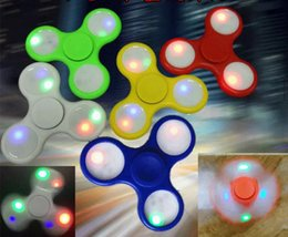 Wholesale Light Up Spin Top - LED Light Up Hand Spinners Fidget Spinner Top Quality Triangle Finger Spinning Top Colorful Decompression Fingers Tip Tops Toys