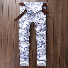 Wholesale Chinese Men S Clothes Fashion - Hot Sale Mens Skinny Stretch White Chinese Stylish Designer Painted Jeans Slim Fit Men Clothing White Printing Casual Pants