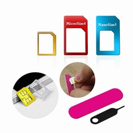 Wholesale Sim Plus - 5in1 Nano Micro Standard Sim Card Adapter Kit Converter With Sander Bar Tray Open Needle For iPhone 5S 7 Plus 6S xiaomi redmi 3s