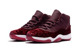 Wholesale Brown Velvet Fabric - 2018 Air Retro 11 Heiress Red Velvet men women kids Basketball shoes Wholesale prices free shipping size 36-47