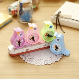 Wholesale Stationery Gifts For Children - Wholesale-1 X Kawaii Birds Alarm Clock Hand Pencil Sharpener Child Stationery Escritorio Papeleria for Kids Creative Item Gift Stationery