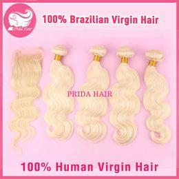 Wholesale Human Hair Platinum Blonde - 613 Brazilian Blonde Body Wave Hair With Closure 5 Pcs Lot Human Virgin Brazilian Platinum Bleach Blonde Hair With Lace Closure