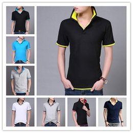 Wholesale Korean Casual Shirts For Men - 2016 New Hot Korean t Shirts For Men Lapel Slim Fashion 15 Colors Tee Tops Summer Comfortable Short-Sleeved t Shirts