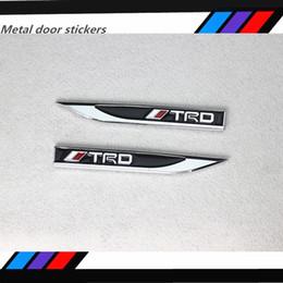 Wholesale Toyota Body Stickers - 2pcs*1set Car Styling Metal TRD Fender Side Door Sticker Emblem Decal For TOYOTA REIZ PRODO VENZA HIGHLANDER RAV4 Camry Corolla