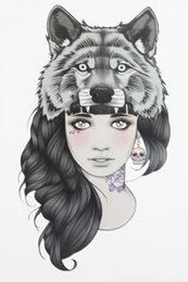 Wholesale Tattoo Girls Sexy - Wholesale-Girl with Wolf Head Tattoo 21 X 15 CM Sized Sexy Cool Beauty Tattoo Waterproof Hot Temporary Tattoo Stickers