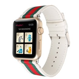Wholesale Watches Stripes - Nylon Leather Watchbands for Apple Watch Band 42mm 38mm iwatch 1 2 3 bands Leather Strap Sports Bracelet New Fashion Stripes