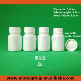 2019 bottiglie contenitori bianchi 100 + 2pcs 30ml 30g 30cc bocca larga HDPE bianco farmaceutico plastica vuota bottiglia pillola contenitori di medicina in plastica con tappo sigillo bottiglie contenitori bianchi economici