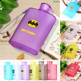 Wholesale Plastic Jugs Wholesalers - NEW Frosted Jug Cup American Captain Superman Spiderman Creative Bottle Hip Flasks Outdoor Travel Plastic Mugs 400ML 6 Color WX-C36