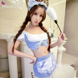 Wholesale Lenceria Sex - Cotton Lace Baby Doll Sexy Lingerie Women Set Lovely Maid Lenceria Sexy Hot Erotic Hair Hoop Apron Exotic Apparel Sex Clothes