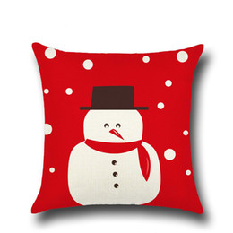 Wholesale pillowcases for kids - 45*45CM Flax Square Printing Throw Pillow Case Cushion Cover Christmas Throw Pillow Cover Pillowcase For Chilren Kids Gift