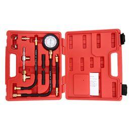 Wholesale Engine Gas - Auto Fuel Injection Pump Pressure Tester Kit Car Petrol Gas Engine Cylinder Compression Gauge Car Diagnostic Tool
