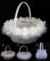 Wholesale Satin Flower Girl Baskets - Diamond Flower Basket Wedding Ceremony Party Love Case Satin Bowknot Flower Girl Basket For Wedding Supplies