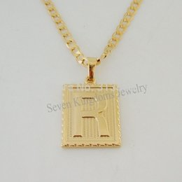 "Wholesale Cuban Link Gold Chains Wholesale - Wholesale-Free Shipping Min order 10$  18K YELLOW GOLD OVERLAY FILLED BRASS 24"" CUBAN NECKLACE&LETTER R INITIAL PENDANT Great Gift"