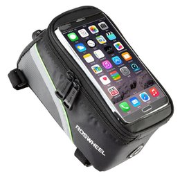 Wholesale bicycle accessories panniers - Hot sale Waterproof Cycling Sport Bike Accessories Bicycle Frame Pannier Front Tube Mobile Phone Bag free shipping