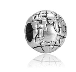 Wholesale earth globe necklace - Fits Pandora Bracelets 30pcs Earth The Globe Silver Charm Bead Loose Beads For Wholesale Diy European Sterling Necklace Jewelry