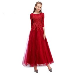 Wholesale Three Quater Length Lace Sleeves - New Arrival Burgundy Cheap Prom Dresses A Line Scoop Neck Three Quater Sleeve Tea Length Dress Evening Party For Women