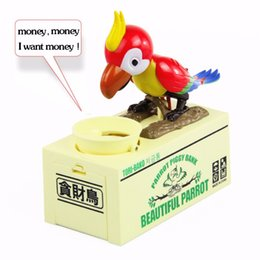 Wholesale Money Saving Pots - New Arrival Mechanical Robotic Hungry Parrot Eating Coins Piggy Bank Saving Bank Saving Pot Money Box Free Shipping