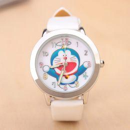 Wholesale Doraemon Girls Watches - Cartoon Beautiful girl Doraemon cat style Color number dial children students girl's leather quartz wrist watch