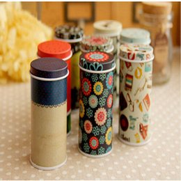 Wholesale Candy Tin Cans Wholesale - Wholesale- Toothpicks Holder Mini Tin box Round Shape Candy Can Painted Metal Box Coin Saver Gift