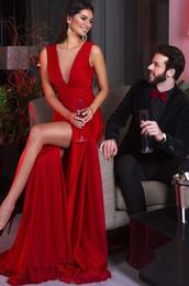 Wholesale Evening Dress Slit Design - 2017 crystal design red sexy slit evening dresses sheer deep V neckline backless sweep train formal evening gowns