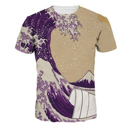 Wholesale Sea Wave - New Style Sea Wave Digital Men's T-Shirts Quick Dry Short Sleeve Sports Men's Tees Teenager Breathable T-Shirts Tops Free Shipping
