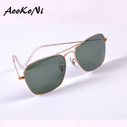 Wholesale Sunglasses Case Girls - AOOKONI Hot Sell Metal sunglasses Mens Womens New Quality Gold Silver Mirror Fashion Sun glasses G15 Lens 58mm with case uv protection lens