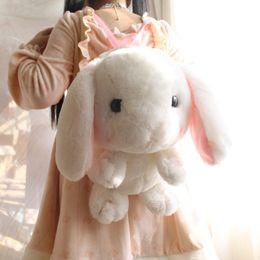 Wholesale Bunny Girl - Wholesale- Cute Plush Rabbit Backpack Japanese Kawaii Bunny Backpack Stuffed Rabbit Toy Children School Bag Gift Kids Toy For Little Girl