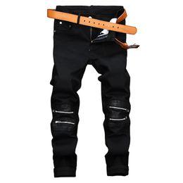 Wholesale Men Metrosexual - Black Zipper Casual Pants Men Leather Slim Straight European Club Metrosexual Stretch Pants Fashion Jeans