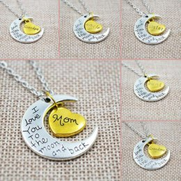 Wholesale Silver Family Necklace - I Love You To The Moon And Back Silver Necklace Vintage Family Necklaces Pendants Fashion Women Jewelry Mom Christmas Gift