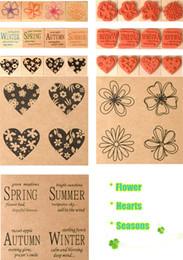 Wholesale Decorative Stamp Set - Wholesale- Vintage blessing and flower decorative stamp gift set craft wood + rubber stamps for decoration lot